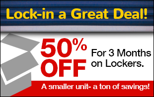 50% Off For 3 Months of Lockers